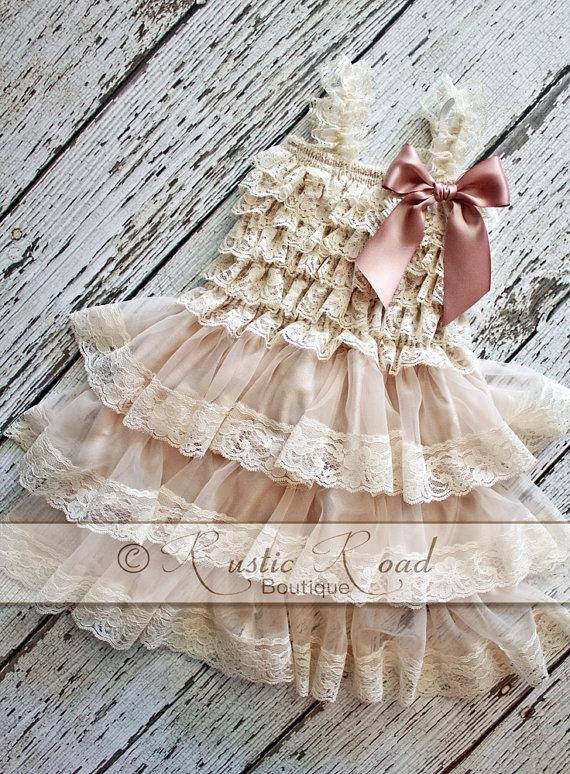 Wedding - Rustic Flower Girl Dress: CHOOSE BOW COLOR, Lace Ruffle Dress, Baby Girl Birthday, Rustic Vintage Flowergirl Dress, Wedding Country Dress