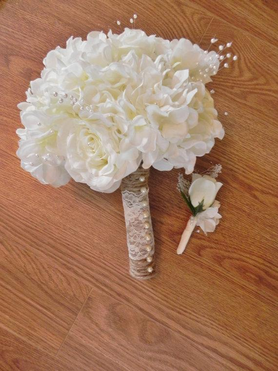 Ivory Rose And Hydrangea Bridal Bouquet And Matching Boutonniere