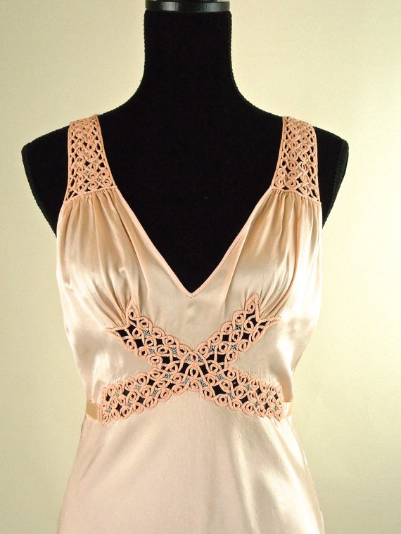 Wedding - 30s Peach Silk Charmeuse Nightgown Lingerie with Extravagant Woven Details Vintage