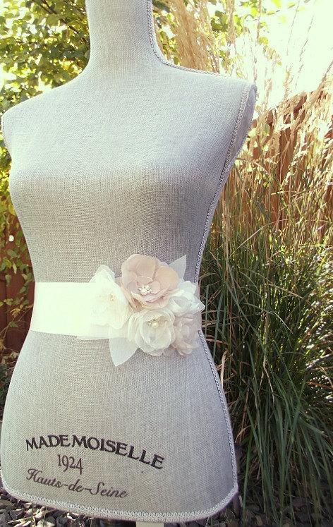Mariage - Blush, Champagne and Ivory Bridal Sash, Blush Wedding Sash, Blush Wedding Belt