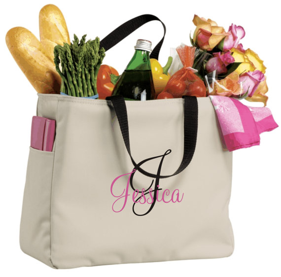 Wedding - 1 Bridesmaid Gift Monogrammed Personalized Tote Bag Wedding Party