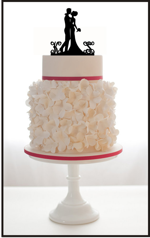 Custom Wedding Cake Topper Silhouette With 2 Monogram Personalized Initials For Groom Amp Bride