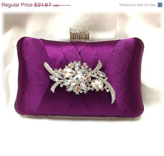 Mariage - wedding clutch, Bridal clutch, Purple clutch, evening bag, Modern clutch, bridesmaid bag, crystal clutch