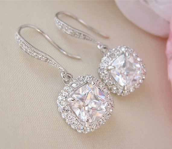 Gorgeous Cushion Cut Bridal Earrings Wedding Earrings Bridal Jewelry