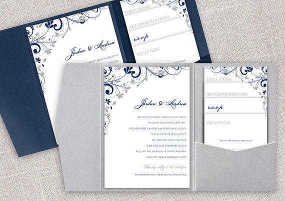 Pocket Wedding Invitation Template Set - Instant DOWNLOAD - EDITABLE ...