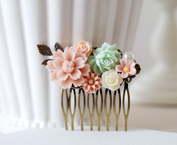 Pink Ivory Mint Green Flowers Brass Leaf Hair Comb. Floral Collage ...