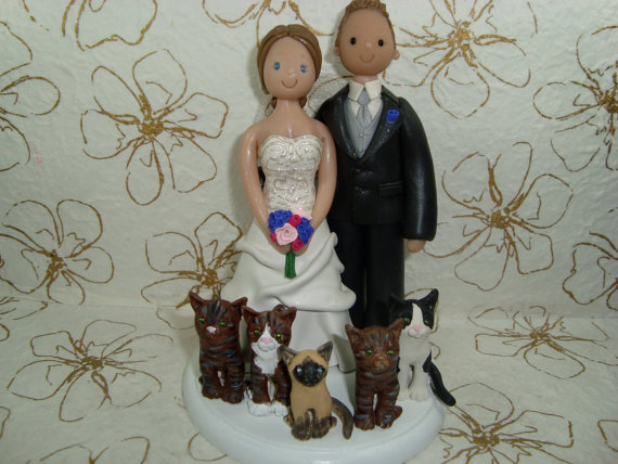 Wedding - Bride And Groom with Cats Customized Wedding Cake Topper