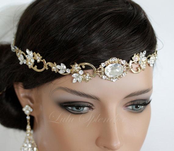 Hochzeit - Wedding Hair Accessory Gold Forehead Band Vintage Headband Swarovski Rhinestone Halo Headpiece RYAN