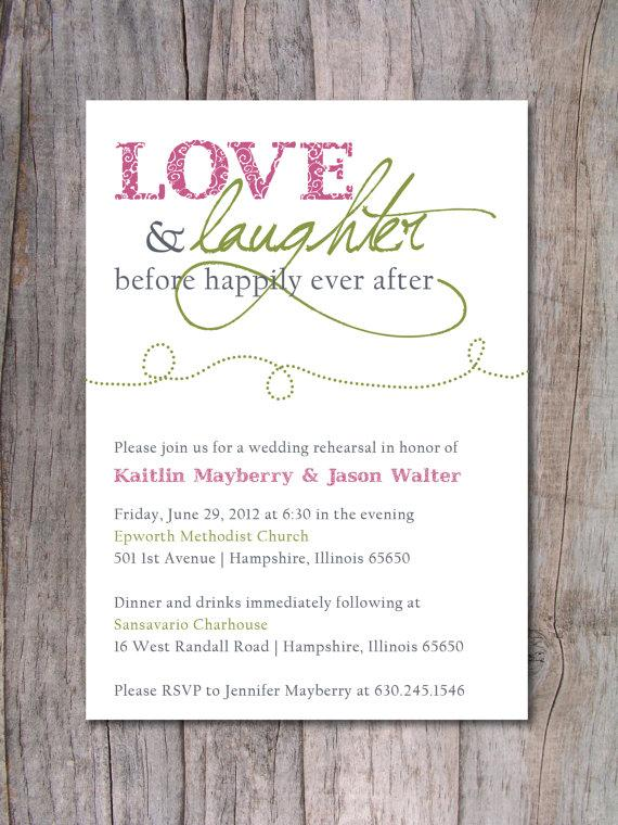 Wedding - Rehearsal Dinner Invitation - Happily Ever After