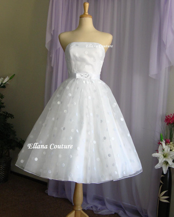 Mariage - Faye - Vintage Style Polka Dot Wedding Dress. Tea Length.