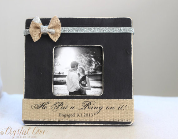 Personalized ENGAGEMENT Burlap Proposal GIFT Picture Frame. Rustic ...