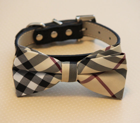 Свадьба - Plaid Burly wood bowtie Dog Bow Tie attached to black leather collar, Chic Dog Bow tie, Wedding Dog Collar