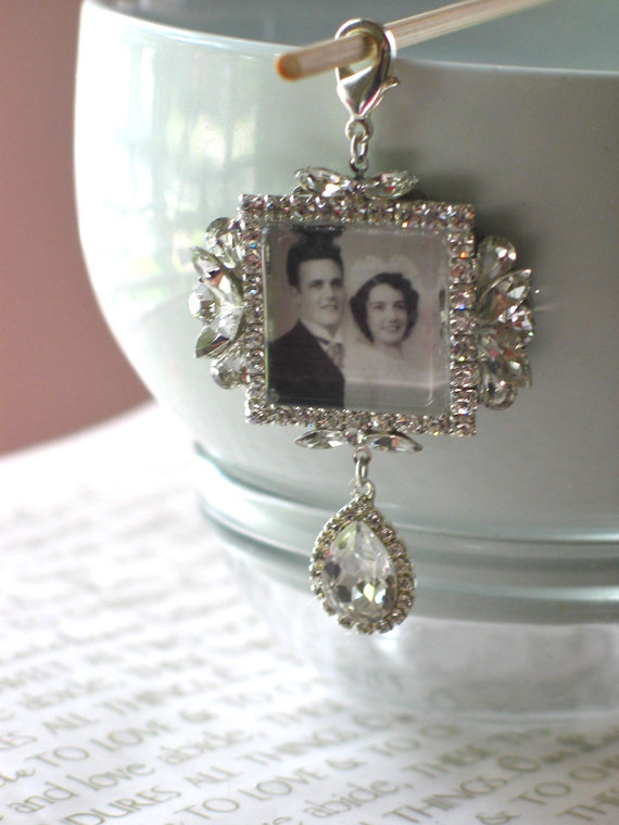 Memory Wedding Bouquet Photo Charm Bridal Swarovski Crystal