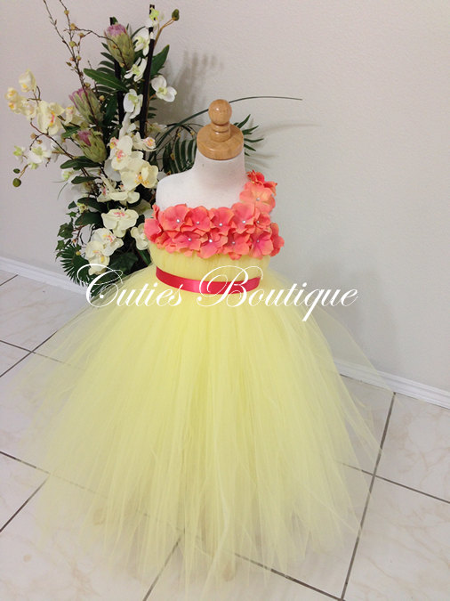 Hochzeit - Yellow Tutu Dress With Coral Hydrangea Flower Dress Wedding Dress Birthday Picture Prop Yellow Flower Girl Dress
