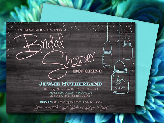 زفاف - Mason Jar Wood Bridal Shower Invitation, Rustic Wedding Shower Microsoft Word Template - Aqua Peach Ivory
