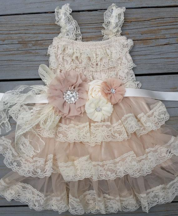 Mariage - Lace Flower Girl Dress -Lace Flower GirlRustic Flower Girl/Country Flower Girl Dress Cream/Wheat Champagne Wedding-Vintage Wedding-Sash