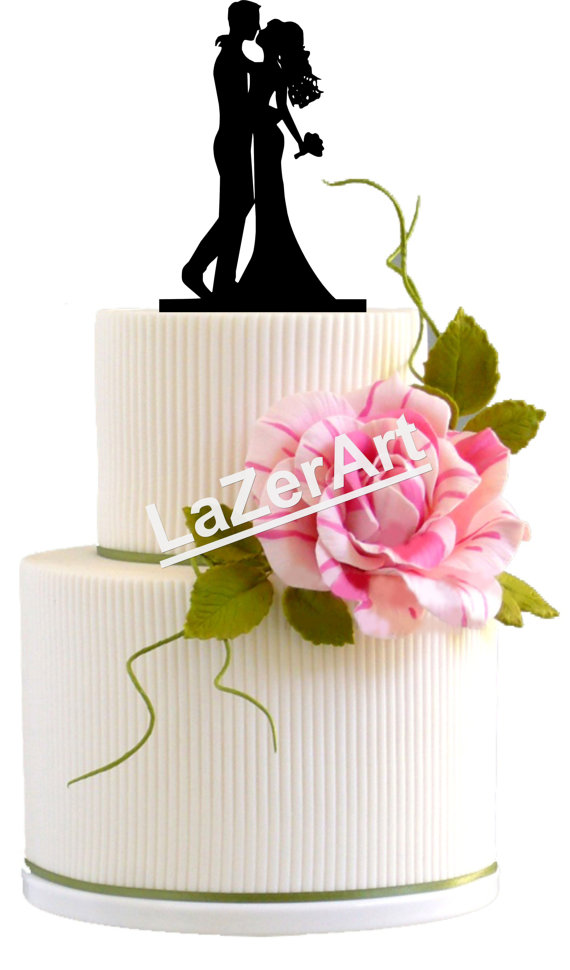 Свадьба - Wedding Cake Topper First Kiss Silhouette Groom and Bride