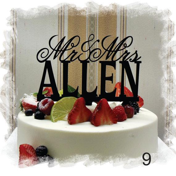 Wedding - Wedding  Cake Topper , Monogram Cake Topper Mr and Mrs  With Your Last (Family)Name  - Handmade Custom Wedding Cake Topper