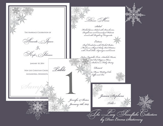 lacy snowflake collection ceremony and reception papers winter