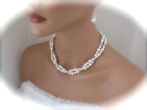 Pearl bridal necklace and earrings wedding jewelry set bridesmaid pearl bridal necklace and earrings wedding jewelry set bridesmaid jewelry pearl jewelry bridal jewelry junglespirit Image collections