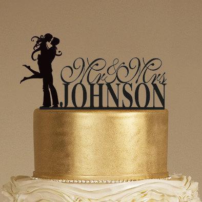 زفاف - Custom Wedding Cake Topper - Personalized Monogram Cake Topper - Mr and Mrs - Cake Decor - Bride and Groom