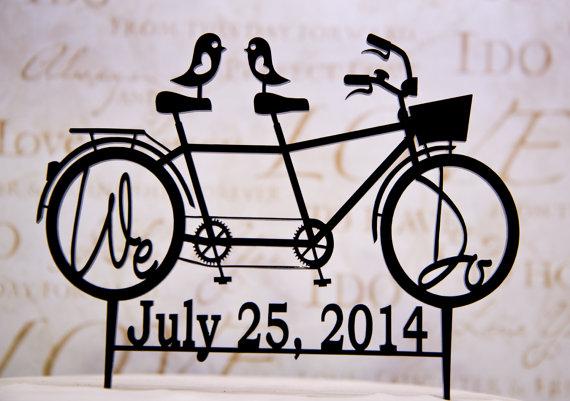 زفاف - Wedding Cake Topper Bicycle for Two with We Do in the wheels and Your Wedding  Date