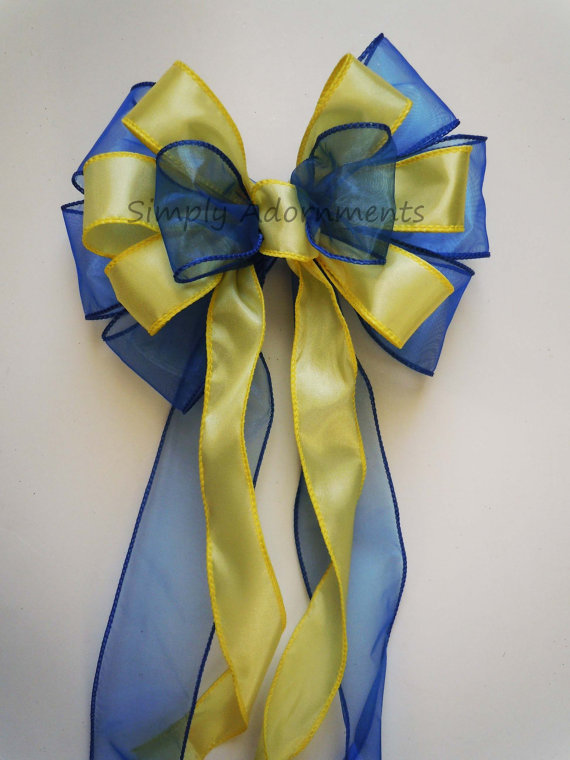 Hochzeit - Royal Blue Yellow Wedding Decoration Bow Shower Party Decor Bow Cobalt Blue Yellow Pew Bow Wedding Chair Bow Gifts Bow