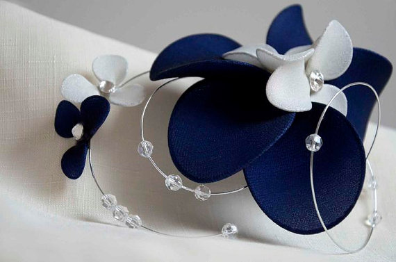 Swarovski bridal headpiece Navy Blue and ivory fascinator Fascinator  headband Simple fascinator Flower headpiece Wedding hair comb 4483d4123a0