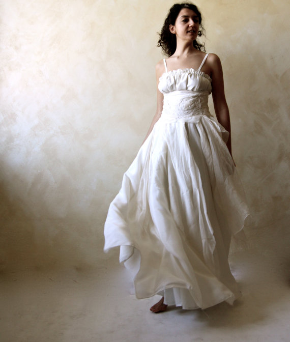 Bohemian wedding dress bridal gown fairy wedding gown for Plus size silk wedding dresses