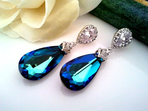 Bermuda Blue Swarovski Crystal Earrings Wedding Earrings