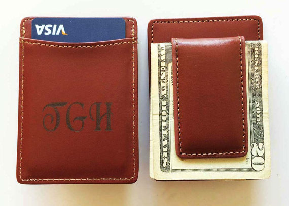 Personalized Leather Wallet Money Clip - Monogrammed Wallet - Personalized Engraved Leather money Clip - Groomsmen Gift - Gifts for Men