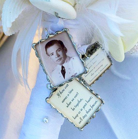 زفاف - Customized Photo Charm for Bridal Bouquet, the Groom or Wedding Party. With photo and quote.