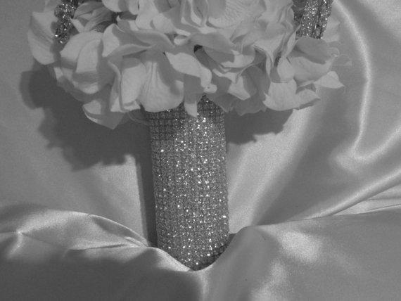 Mariage - Rhinestone Bridal Bouquet Holder, Rhinestone Bouquet Cuff