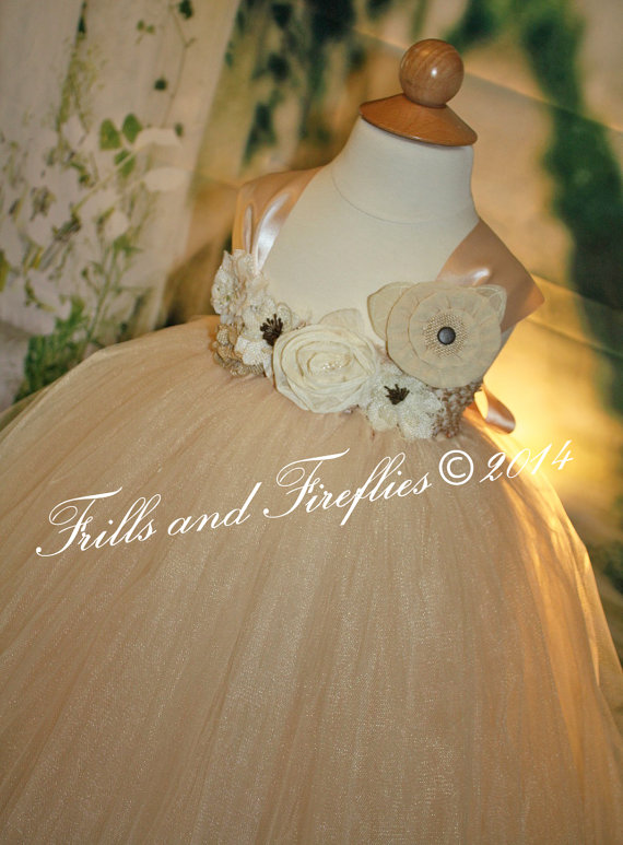 Mariage - Champagne Flower girl dress, Shabby Chic Flowergirl Dress with Satin Ribbon Shoulder Straps, Weddings, Birthdays 18-24 Mo 2t,3t,4t,5t, 6