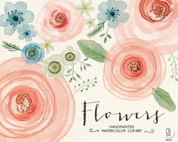Hochzeit - Watercolor flowers, hand painted ranunculus, roses, hellebore, wedding flowers, florals, clip art, watercolor card, diy invitation