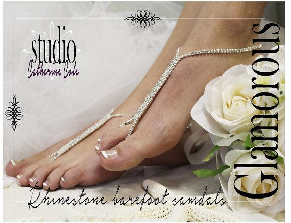 Mariage - GLAMOROUS rhinestone Barefoot sandals shoe jewelry wedding shoes bridal destination beach wedding footless sandles Catherine Cole Studio SJ1