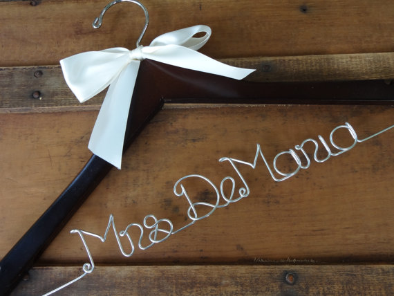 SALE Personalized Bridal Dress Hanger With Satin Ribbon Bow -Wedding ...