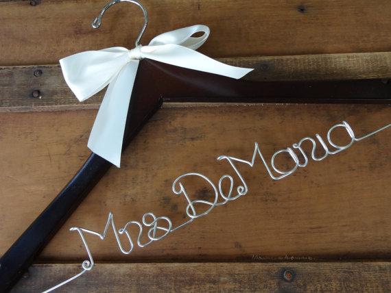 Mariage - SALE Personalized Bridal Dress Hanger with Satin Ribbon Bow  -Wedding Hanger, Mrs Name Hanger, Bride Hanger, Engagment Gift,Bride