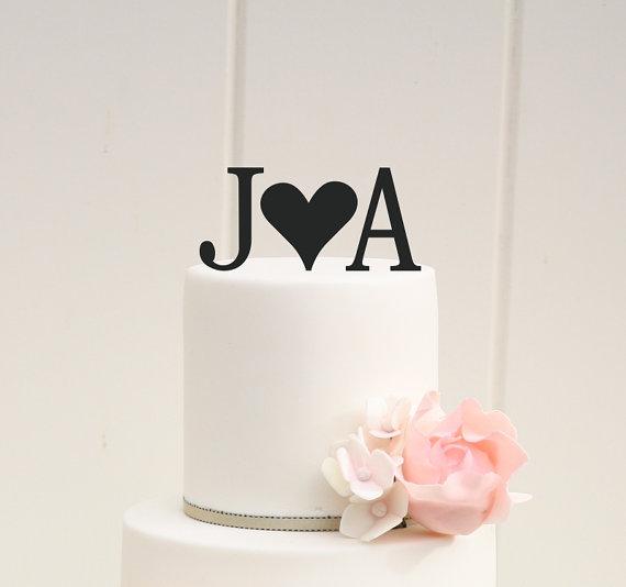 زفاف - Personalized Heart Monogram Wedding Cake Topper with YOUR Initials