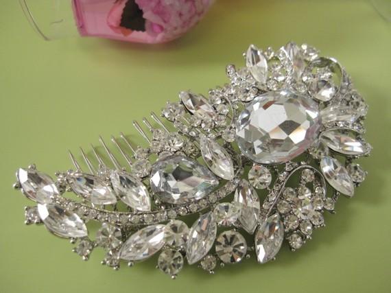 زفاف - Bridal rhinestone hair comb---crystal wedding head comb, Bridal hair accessories, wedding hair comb, large crystal hair comb