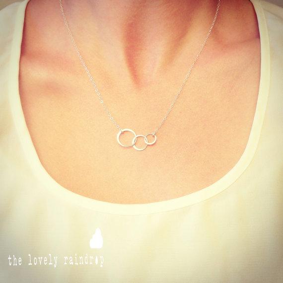 Wedding - Mini Sterling Silver Triple Circle Necklace - Dainty Minimal Simple Modern - Everyday Jewelry - Wedding Jewelry - Bridal - Simple Everyday