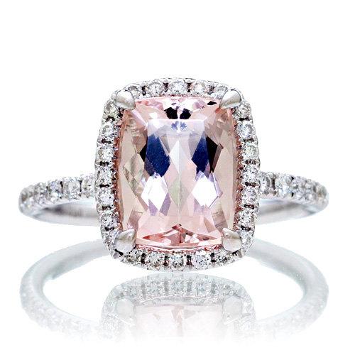 cccf983777675 18K White Gold 9x7 Cushion Cut Diamond Halo Morganite Engagement ...