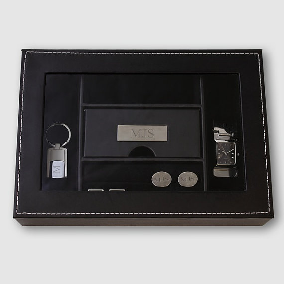 Engraved Personalized Mens Valet Watch Box Groomsmen Father S Day