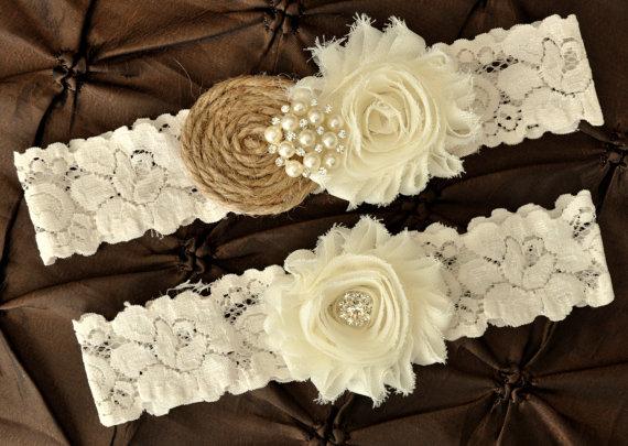 Burlap Rustic Wedding Garter Set Bridal