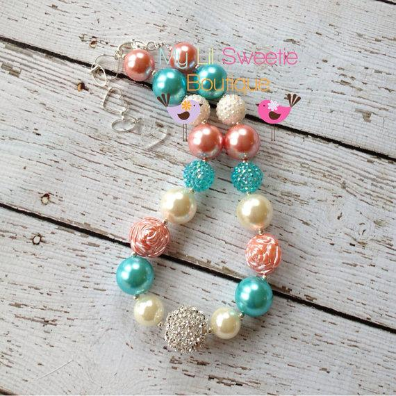 Coral Aqua Ivory Chunky Necklace Girls Jewelry Wedding Jewelry