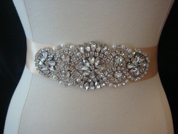 Bridal sash wedding dress sash belt blush rhinestone for Pearl belt for wedding dress