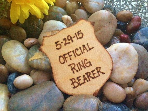زفاف - Gift for Ring Bearer Police Style Badge Official Ring Bearer Honor Cop Pin Rustic Wedding Decoration