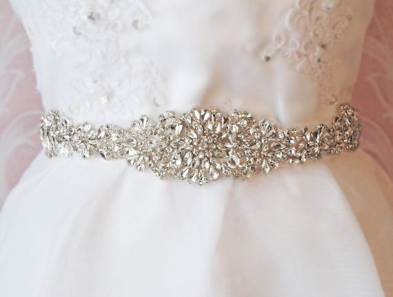 "Свадьба - Crystal Rhinestone Sash, Diamond White Bridal Sash, Off White, Ivory, Champagne Wedding Belt, Wedding Sash, 13"" of Rhinestones- ATHENA"