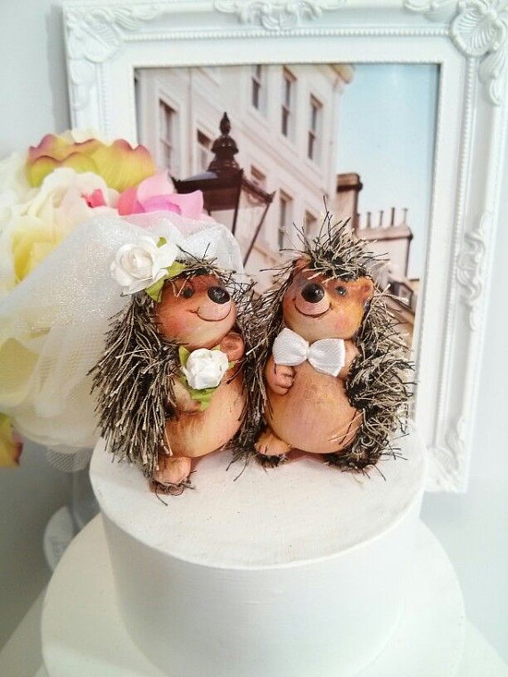 Mariage - SALE Ooak lovely hedgehog wedding cake topper