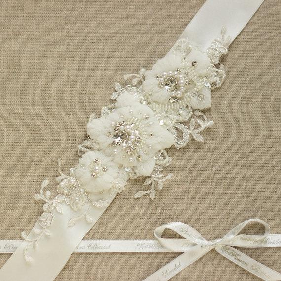 Wedding Dress Belt Lace Sash Lace Belt Rhinestone Sash